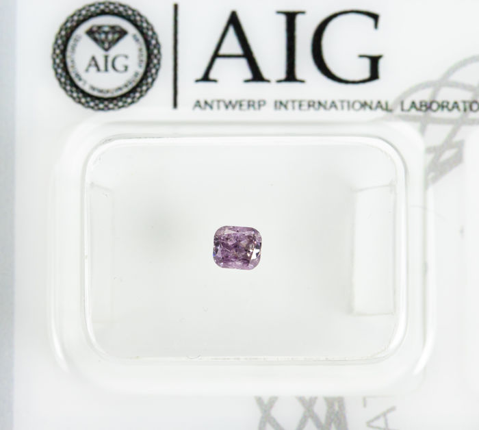 Diamant - 0.19 ct - Natural Fancy INTENSE Purplish Pink  - I2 *NO RESERVE*