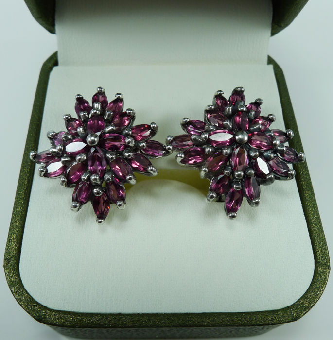 Vintage Garnet earrings - 925 Argento - Orecchini