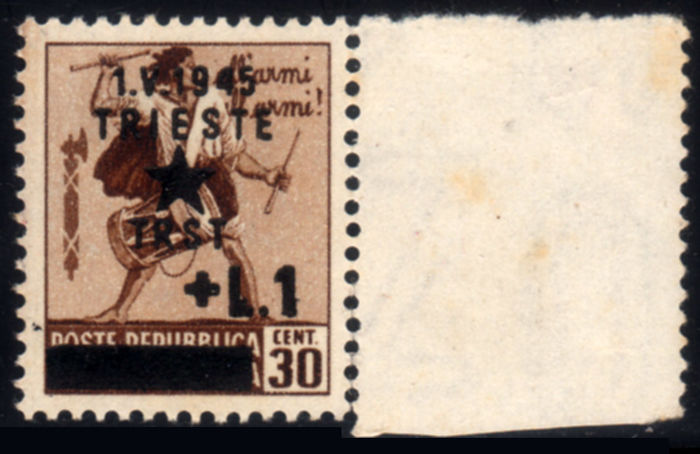 Italy 1945 - Yugoslav occupation Trieste - 30 cents brown with watermark - Sassone N. 12