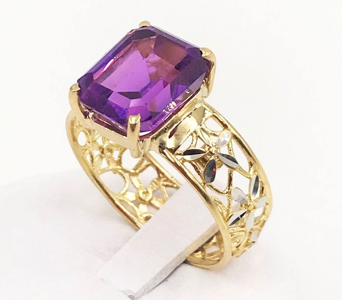18 kt. White gold - Ring - 9.45 ct Amethyst