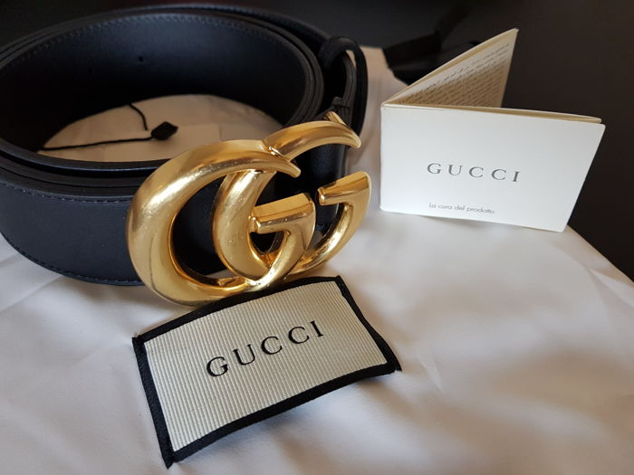 572e2adc63238 Gucci - Leather belt with Double G buckle Belt - Catawiki