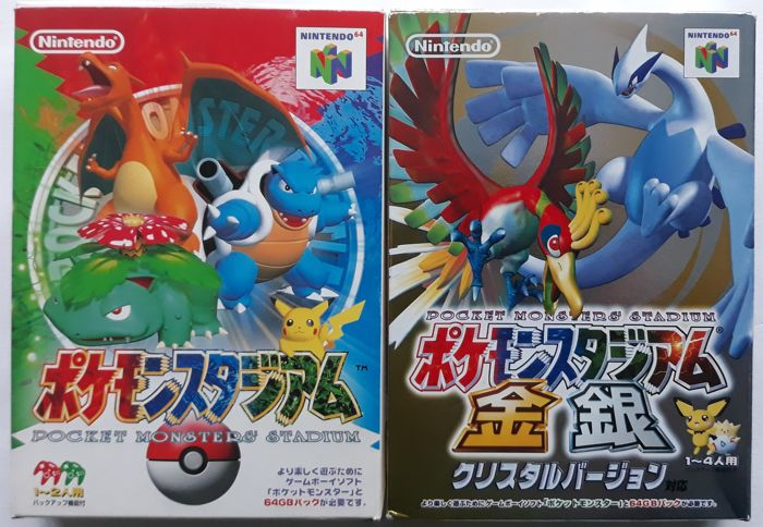 Lot of 2 boxed Pokemon Stadium games (1 Japan-exclusive) for the Nintendo 64 - Pocket Monsters Stadium and Kingin Crystal Version - Na caixa original