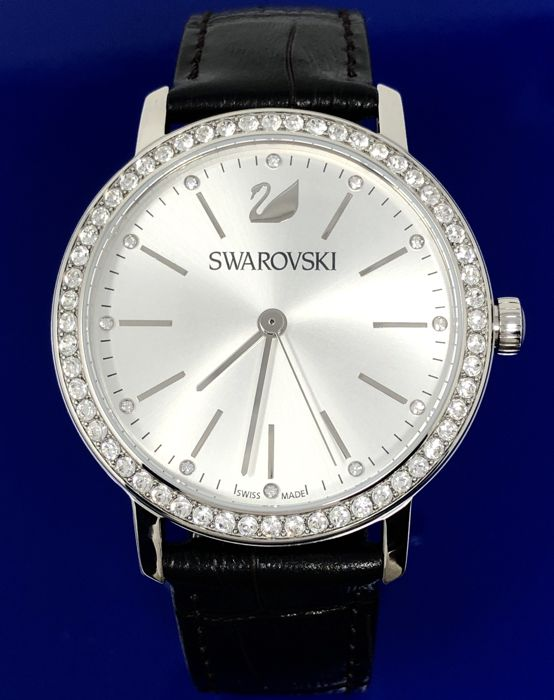 "Swarovski - Crystal Watch Graceful Lady 37mm Silver Black Leather strap Swiss - ""NO RESERVE PRICE"" 5261668 - Dames - 2011-heden"