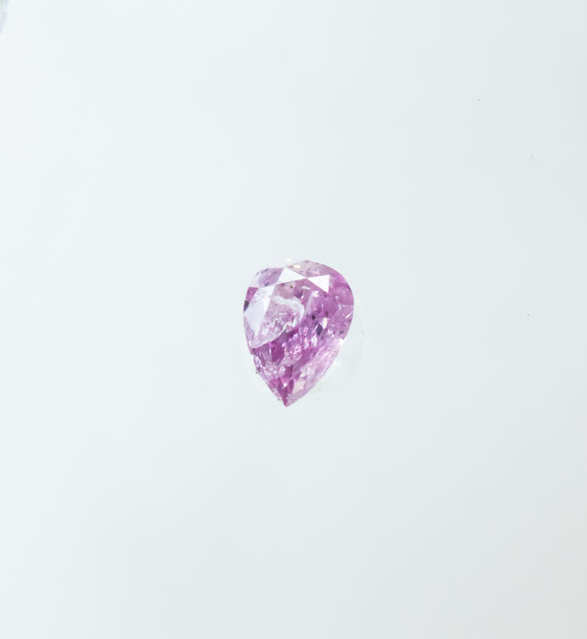 Diamant - 0.06 ct - Naturlig Fancy VIVID Purplish Pink - I2  *NO RESERVE*
