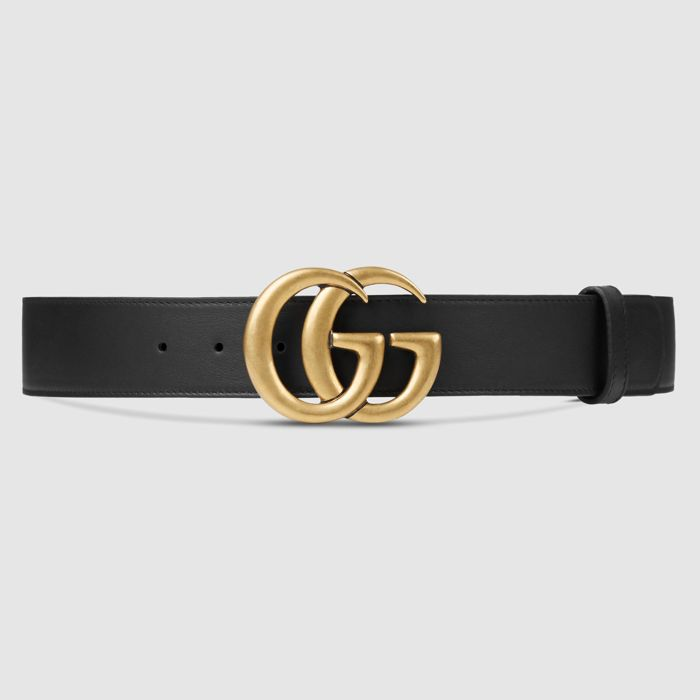 Gucci - Leather belt with Double G buckle Belt