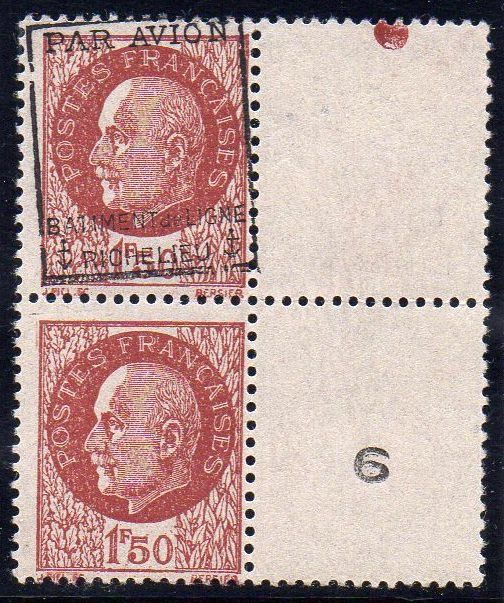 France 1943 - 1f50 brown-red overprint normal se-tenant, sheet margin, signed Calves - Yvert Poste Aérienne Militaire n°3a