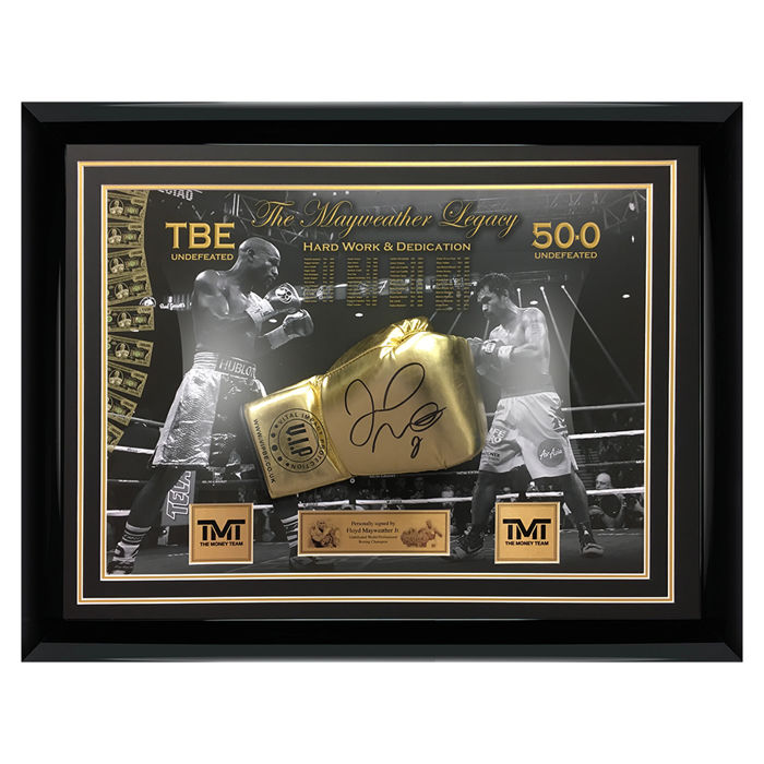 Boxing - Floyd Mayweather Jr - Signed Gold Boxing Glove