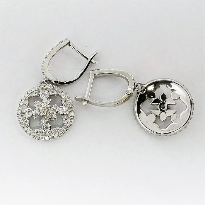 14 quilates Oro blanco - Pendientes - 0.06 ct Diamante - Diamante