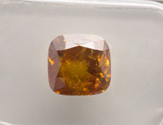 1 pcs 鑽石 - 2.55 ct - 枕形 - fancy vivid orange - I2
