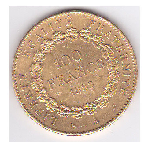 France - 100 Francs 1882-A Genius - Gold
