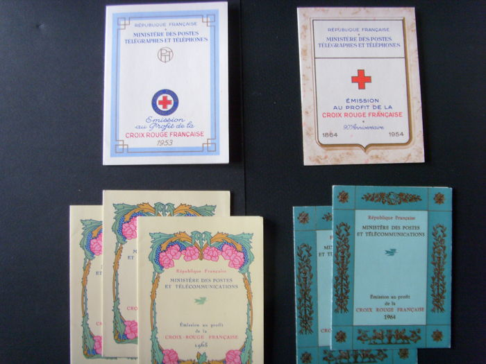 France 1953/1969 - 9 Red Cross booklets