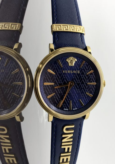 Versace - Blue Manifesto UNIFIED Leather IP Gold Swiss Made extra strap - VBP030017 - Donna - 2011-presente