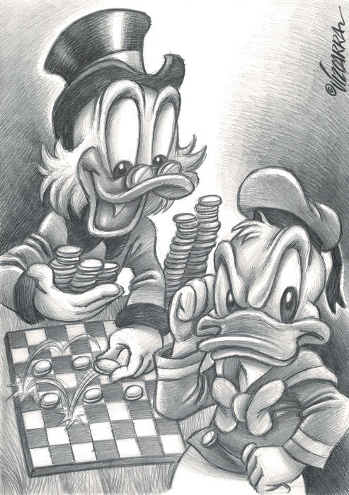 Donald Duck & Uncle $crooge Playing Checkers - Original Drawing - Joan Vizcarra - Pencil Art