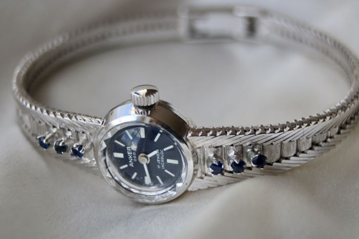 """""""Anker""""  - 835 Silver - Watch - 0.30 ct Sapphire - Very precise."""