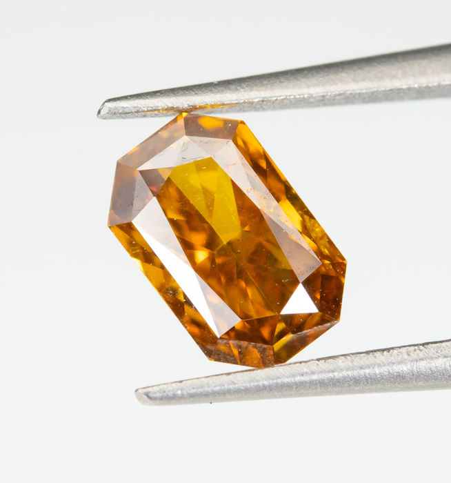 Diamant - 0.50 ct - Naturel fantaisie DEEP orange jaunâtre - SI1  *NO RESERVE*
