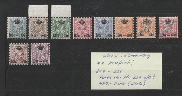 Württemberg 1906 - Set of official stamps with crown and year overprint - Michel 217 - 226