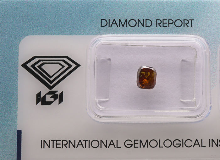 1 pcs Diamanten - 0.78 ct - Kussen gemodificeerd briljant - fancy deep brown orange - P2