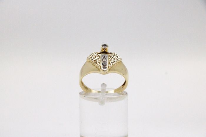 14 kt Gold - Ring - 0.10 ct Diamant