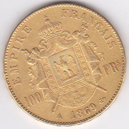 France - 100 Francs 1869-A Napoleon III - Gold