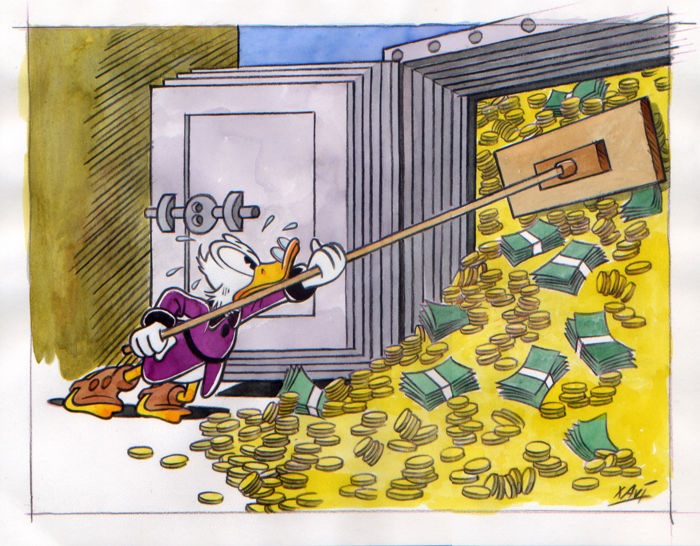 Xavi - Original drawing (pencil draft) - Uncle Scrooge fits his money into the safe box - First edition - (2016)