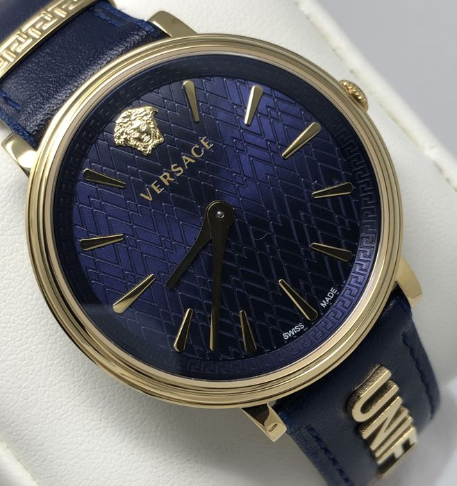 Versace - Blue Manifesto UNIFIED Leather IP Gold Swiss Made extra strap - VBP030017 - Damen - 2011-heute