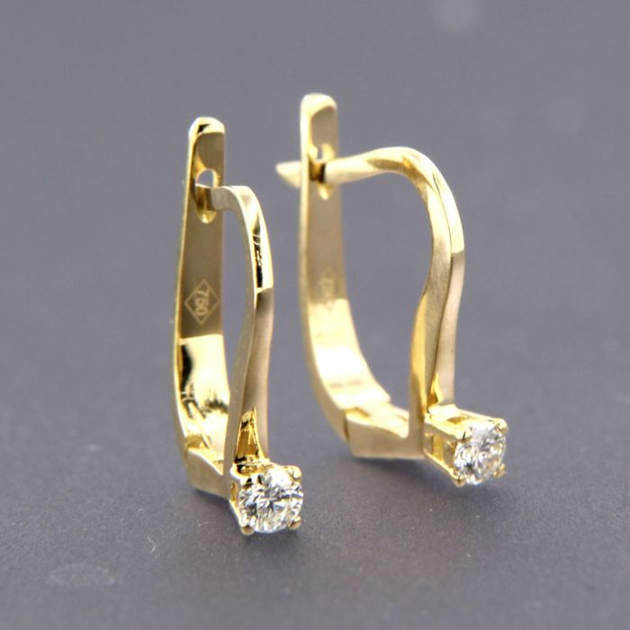 18 kt. Yellow gold - Earrings - 0.16 ct Diamond