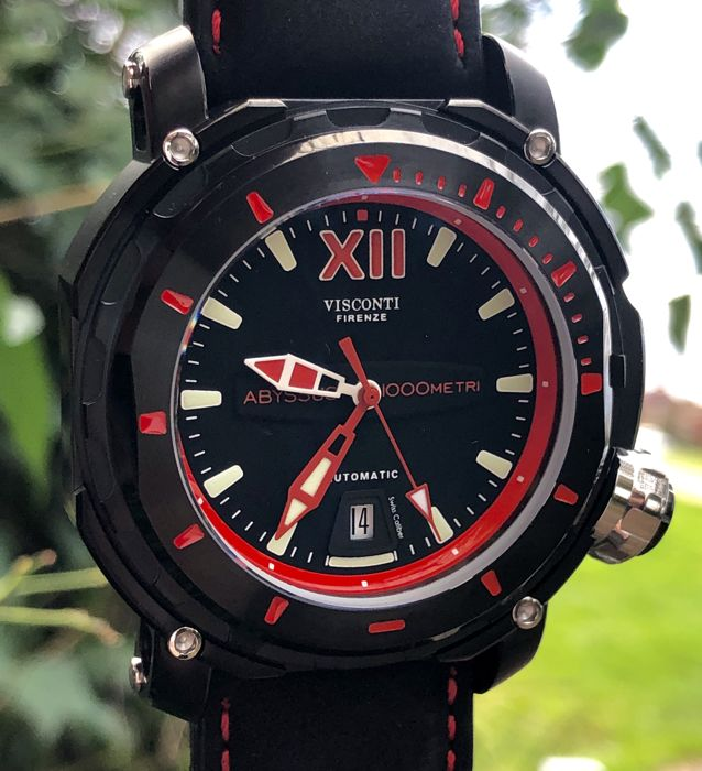 Visconti - Abyssus Full Dive 1000 Black PVD Red - Nabuk Strap - KW51-03 - Men - BRAND NEW