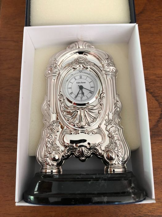 Silver table clock with marble base (1) - .925 silver - Spain - 2008 Silver & Gold International for sale