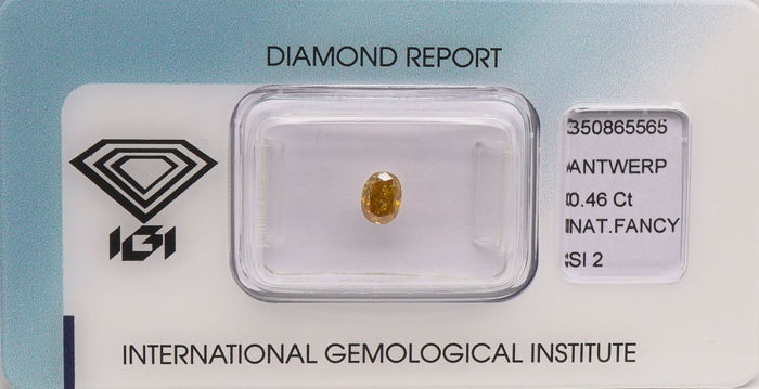 1 pcs Diamanten - 0.46 ct - Ovaal - fancy intens brownish orangy yellow - SI2