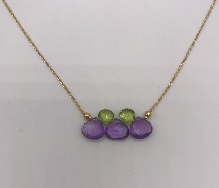 15 kt. Yellow gold - Necklace with pendant - Amethysts, Tourmalines