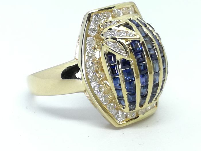 18 karaat Goud - Ring - 1.38 ct Saffier - Diamant