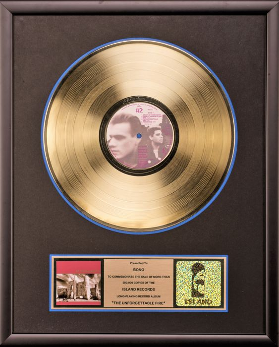 U2 - The Unforgettable Fire - Gold Record Award - Presented to BONO - Official In-House for sale