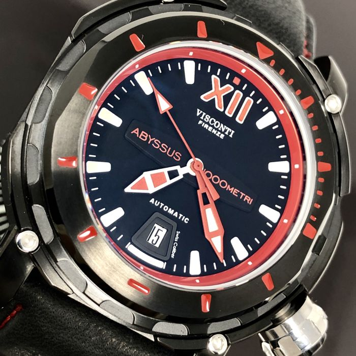 Visconti - Abyssus Full Dive 1000 Black PVD Red - Nabuk Strap - KW51-03 - Homme - BRAND NEW