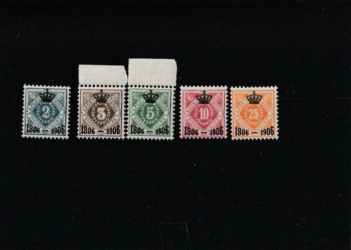 Impero tedesco 1906/1906 - 2 pf to 25 pf official stamps, 100 years of Kingdom - Michel 107/111