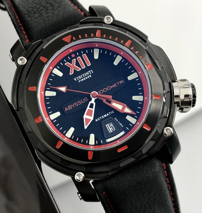 Visconti - Abyssus Full Dive 1000 Black PVD Red - Nabuk Strap - KW51-03 - Heren - BRAND NEW