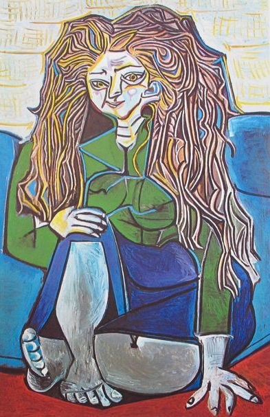 Pablo Picasso ( after ) - Portrait of Madame H.P. (woman sitting cross legged)