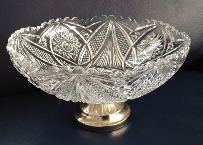 Crystal fruit bowl with silver plated stand - and core Val Saint Lambert? Silver plated crystal - unknown - 1950-1999