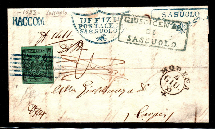 Modena 1853 - 5 cents green with dot on registered mail from Sassuolo to Carpi - Sassone N. 7