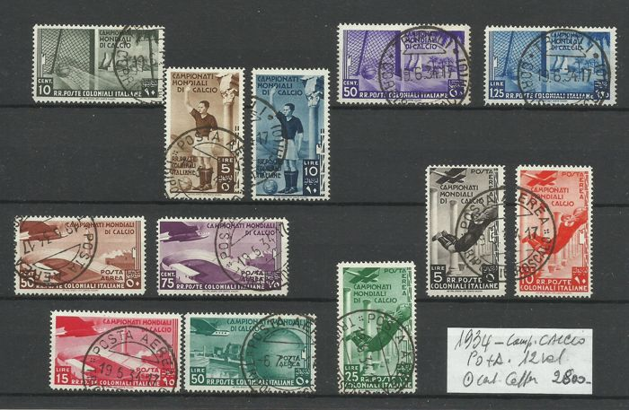 Italy - Colonies (general issues) 1934 - General issues - World Cup regular mail + airmail, 12 values - Sassone NN. 46/50+A31/37