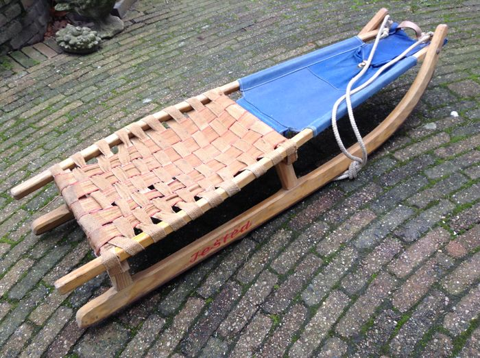 Jestêd - Large vintage sled with belt stretch and canvas - Wood