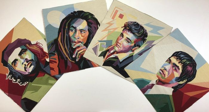 4 tapestries of famous pop-style characters Bob Marley, Bruce Lee, Che Guevara, Elvis Presley. - cotton blend - 2018