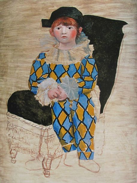 Pablo Picasso ( after ) - Paul as a Harlequin