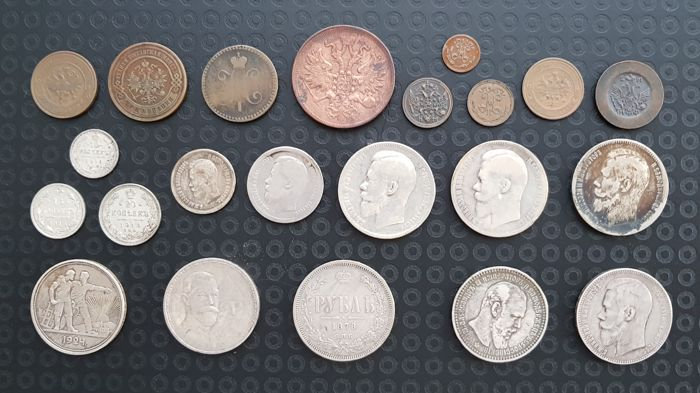 Russia - Lot various coins (22 pieces) incl. silver