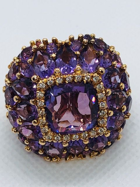 Capra gioielli Amethyst and Diamonds, Pink gold - Ring - 33.80 ct Amethyst