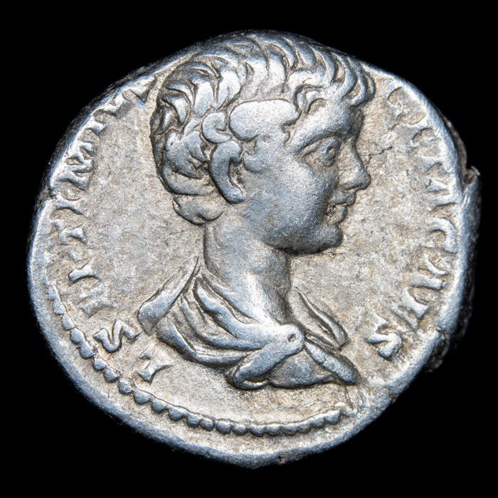 Roman Empire - Denarius - Caracalla (as Caesar, A.D. 196-198). Rome, A.D. 196-197. SEVERI AVG PII FIL, Priestly implements - Silver