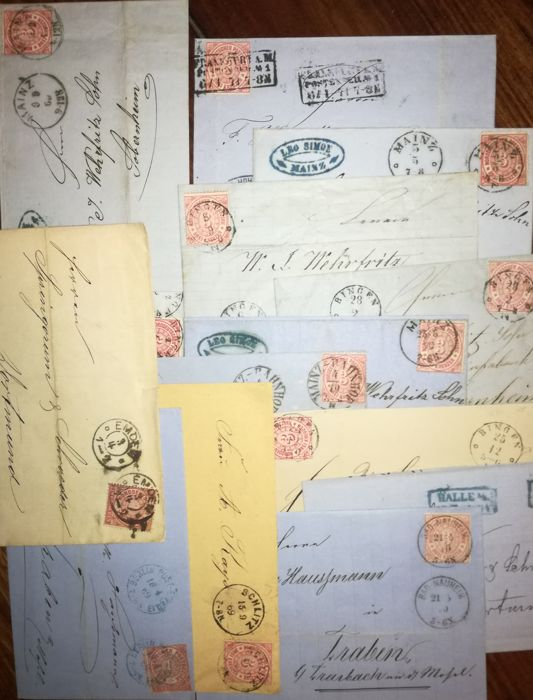 North German Post Office 1868-1881 collection of 14 folded letters