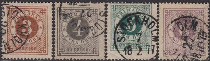 "Sweden 1872/1879 - Figure and ""three crowns"" in a circle, set with perforation 13 and 14. - Unificato n. 16/25 + 16/I 26/I"