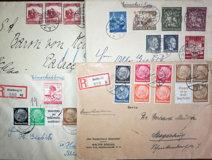 German Reich 1914/1945, 47 letters & postcards with good pieces