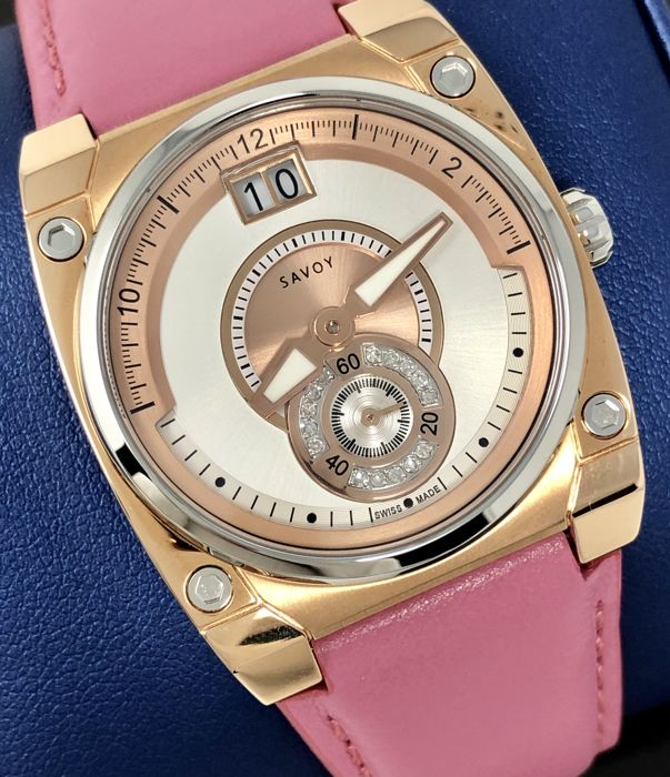 "Savoy - 15 Diamonds Icon Petite 33 mm Pink leather IP Gold Rose Gold Swiss Made  - C4101A.04B.L2 ""NO RESERVE PRICE"" - Damen - NEW"