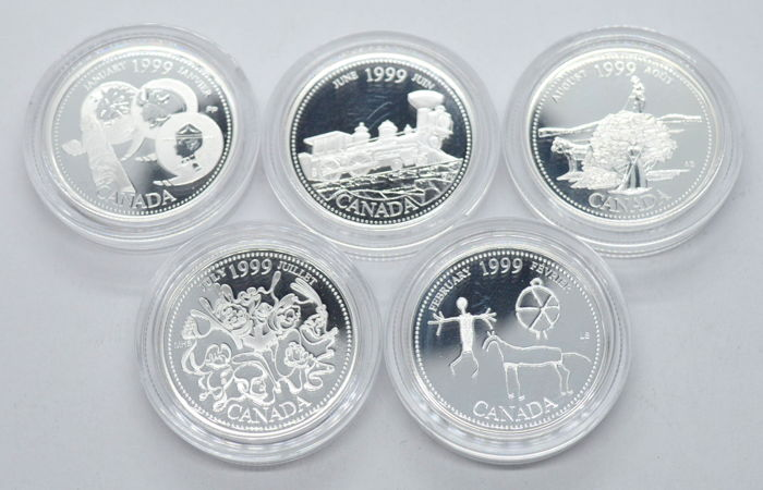 Canada - 25 Cents 1999 ''Months'' (5 coins) - Silver